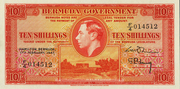 10 Shillings - George VI (Red; date at left) – obverse