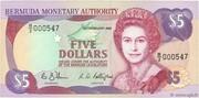 5 Dollars - Elizabeth II (2 lines after DOLLARS) – obverse