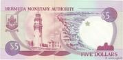 5 Dollars - Elizabeth II (2 lines after DOLLARS) – reverse