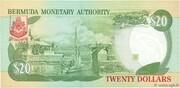 20 Dollars - Elizabeth II (3 lines after DOLLARS) -  reverse