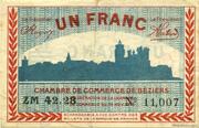 1 franc - Chambre de Commerce de Béziers [34] – obverse
