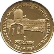 1 Sertum - Jigme Singye (Coronation 40th Anniversary of Queen Elizabeth II) – reverse