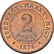2 Pence (Zuid Afrikaansche Republiek; Transvaal Pattern) – reverse
