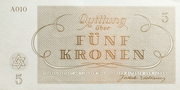 5 Kronen - Theresienstadt Concentration Camp -  reverse