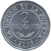 2 Bolivianos (large type) -  reverse