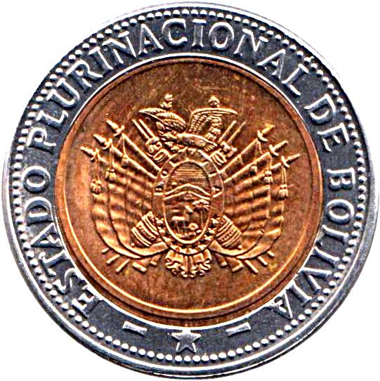 5 bolivianos 2012 UNC 10 centavos Bolivia set of 6 coins