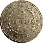 2 Bolivianos (small type) -  reverse