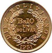 10 Bolivianos / 1 Bolivar -  reverse