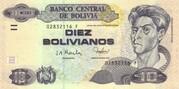 10 Bolivianos (Rojas, Series F-H) – obverse