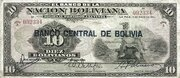 10 Bolivianos (overprinted) -  obverse