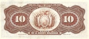 10 Bolivianos (overprinted) – reverse