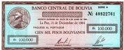 10 Centavos de Boliviano (overprinted on 100 000 Bolivianos P# 188) -  obverse