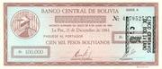 5 Centavos overprinted on 100,000 Pesos Bolivianos – obverse