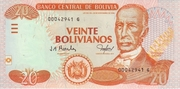 20 Bolivianos (Dalence, Series G) -  obverse