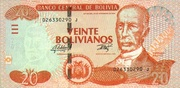 20 Bolivianos (Dalence, Plurinational State, Series J) -  obverse