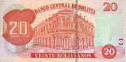 20 Bolivianos (Dalence, Plurinational State, Series J) -  reverse