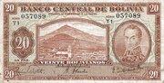 20 Bolivianos - 2 Bolivares (1928) -  obverse