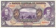 50 Bolivianos (Red reverse) – obverse