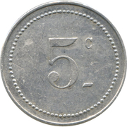 5 Centimes (Bône Chamber of Commerce) – reverse