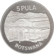 5 Pula (Independence; Silver Proof Issue) – reverse