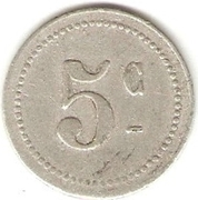 """5 Centimes (Bougie Chamber of Commerce; Curved """"5"""" & Large """"C"""") – reverse"""