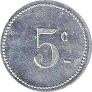 """5 Centimes (Bougie Chamber of Commerce; Straight """"5"""" & Small """"C"""") – reverse"""