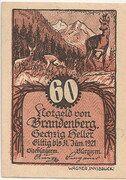 60 Heller (Brandenberg in Tirol) – obverse