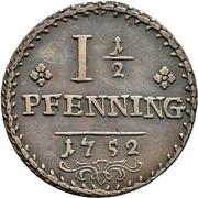 1-½ Pfennig - Karl Wilhelm Friedrich – reverse