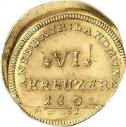 6 Kreuzer - Friedrich Wilhelm III (Gold Pattern) – reverse