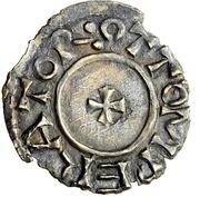 1 Denar - Otto I. with duke Burkhard II. – obverse