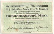 100,000 Mark (Bremen; Francke Werke) – obverse