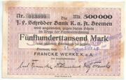 500,000 Mark (Bremen; Francke Werke) – obverse