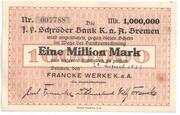 1,000,000 Mark (Bremen; Francke Werke) – obverse