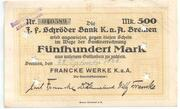 500 Mark (Bremen; Francke Werke) – obverse