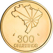 300 Cruzeiros (150th Anniversary of Independence) – reverse