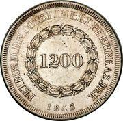 1200 Réis - Pedro II – obverse