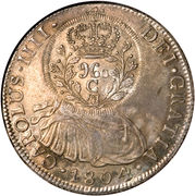 960 Réis - João Prince Regent (Countermarked 8 Reales; Cuiaba) – obverse