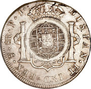 960 Réis - João Prince Regent (Countermarked 8 Reales; Cuiaba) – reverse