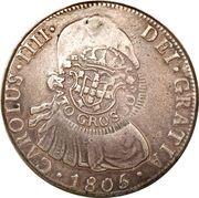960 Réis - João Prince Regent (Countermarked 8 Reales; Mato Grosso) – obverse