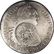 960 Réis - João Prince Regent (Minas Gerais; countermarked Peru 8 Reales, KM#97) – obverse