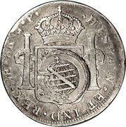 960 Réis - João Prince Regent (Minas Gerais; countermarked Peru 8 Reales, KM#97) – reverse