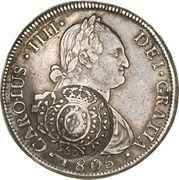 960 Réis - João Prince Regent (Countermarked 8 Reales; Minas Gerais) – obverse