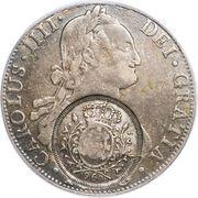 960 Réis - João Prince Regent (Minas Gerais; countermarked Bolivia 8 Reales, KM#73) – obverse