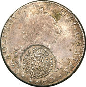 960 Réis - João Prince Regent (Minas Gerais; Countermarked Bolivia 8 Reales, Bolivia 8 Reales, KM#64) – obverse