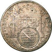 960 Réis - João Prince Regent (Minas Gerais; Countermarked Bolivia 8 Reales, Bolivia 8 Reales, KM#64) – reverse