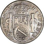 960 Réis - João, Prince Regent (Minas Gerais; countermarked on Bolivia 8 Reales, KM#55) – reverse