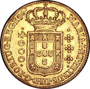 4000 Réis - Maria I & Pedro III – obverse