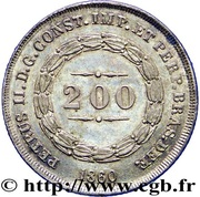 200 Réis - Pedro II – obverse