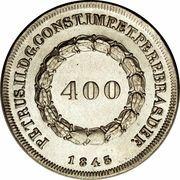 400 Réis - Pedro II – obverse