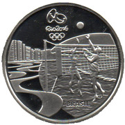 5 Reais (Olympic Games Rio 2016 - Beach volleyball / Samba) – obverse